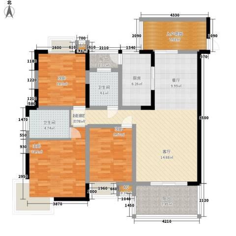 华懋上域3室0厅2卫1厨144.00㎡户型图