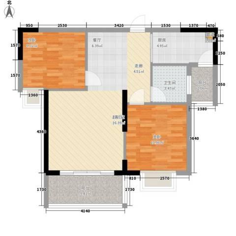 金茂伊顿公馆2室0厅1卫1厨92.00㎡户型图