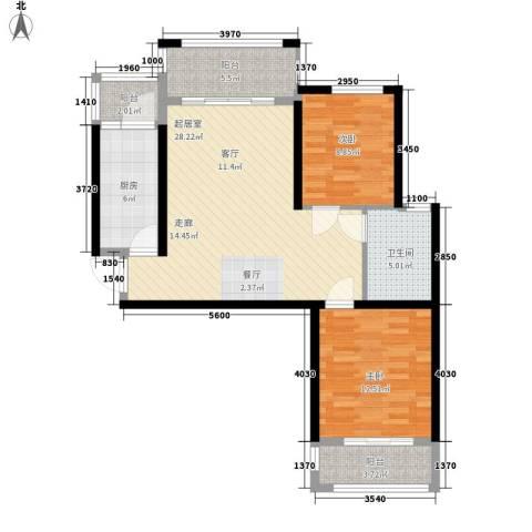 清华苑2室0厅1卫1厨83.00㎡户型图