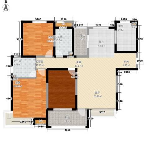 绿地塞尚公馆3室0厅2卫1厨140.00㎡户型图