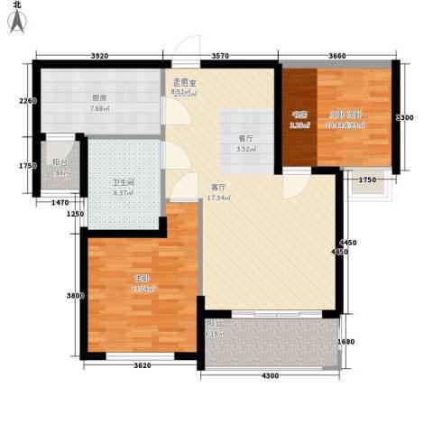 清华苑2室0厅1卫1厨85.00㎡户型图