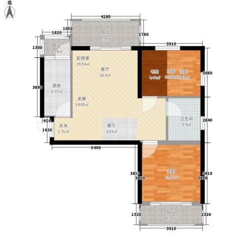 清华苑2室0厅1卫1厨87.00㎡户型图