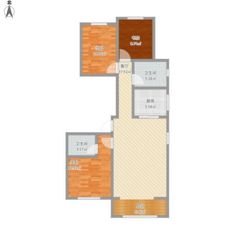 夏洛兹花园3室1厅2卫1厨119.00㎡户型图