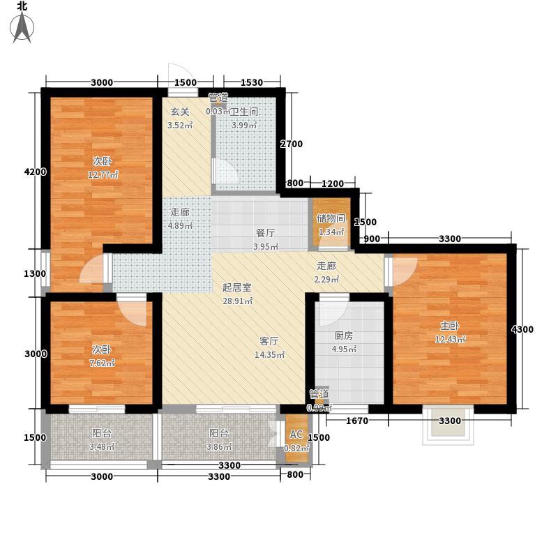博林文苑项目111.72㎡C户型3室2厅1卫1厨