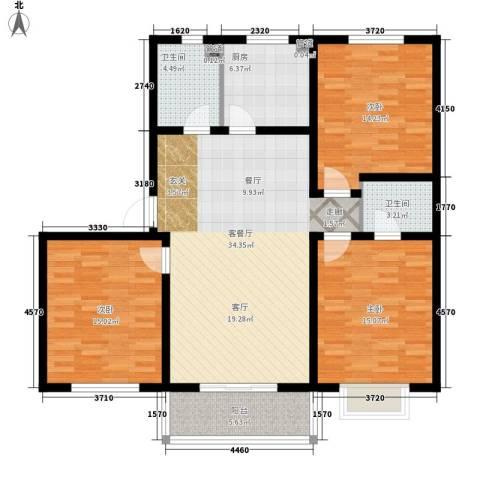 杰岛名城3室1厅2卫1厨112.00㎡户型图
