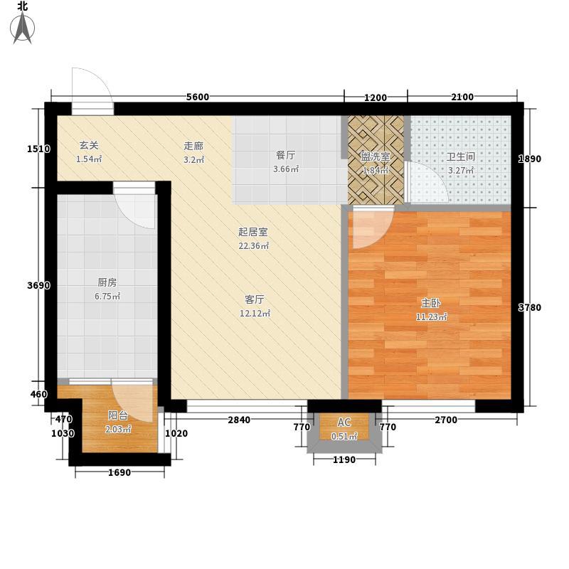 腾业・国王镇户型图B5户型 1室2厅1卫1厨
