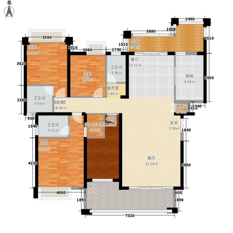 浩盛嘉泽园188.00㎡D户型188平米4房2厅3卫户型4室2厅3卫