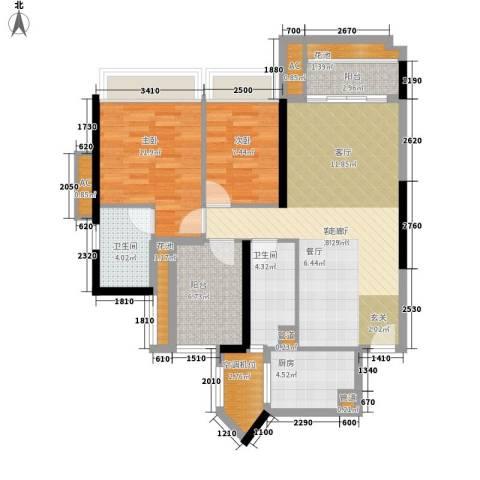 乐湾首府2室1厅2卫1厨89.00㎡户型图