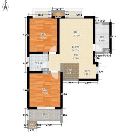 美寓华庭三期高新尚居2室0厅1卫1厨92.00㎡户型图
