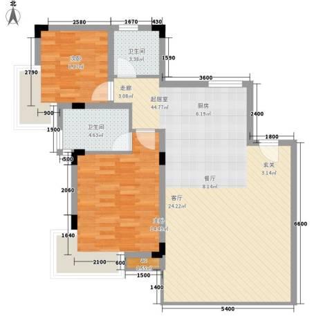 中信博鳌千舟湾2室0厅2卫0厨106.00㎡户型图
