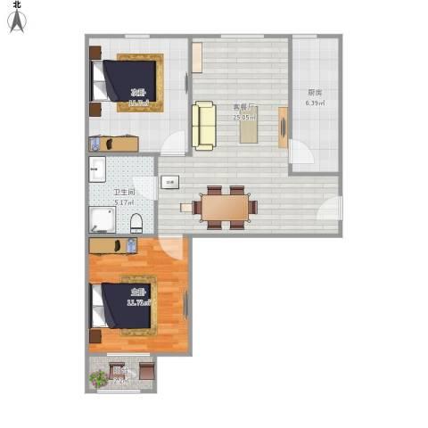 融泽家园2室1厅1卫1厨84.00㎡户型图
