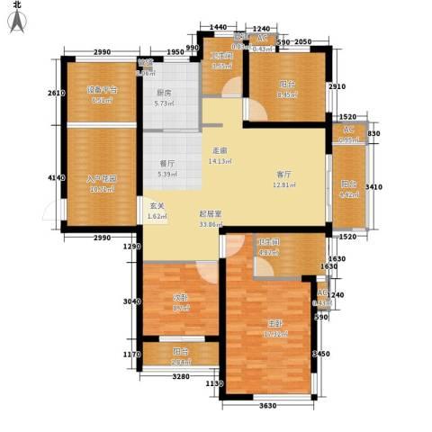 丽景华庭2室0厅2卫1厨125.00㎡户型图