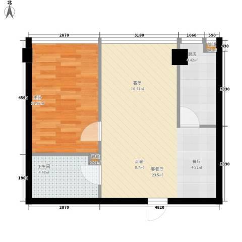 宜家国际公寓1室1厅1卫1厨62.00㎡户型图
