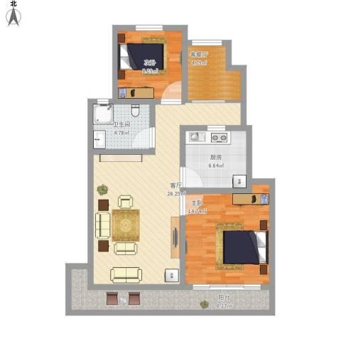 长城珑湾2室2厅1卫1厨108.00㎡户型图