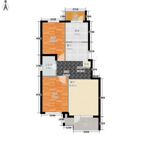 逸林派2室1厅1卫1厨94.00㎡户型图