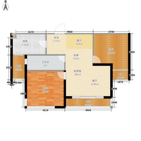 丽景华庭2室0厅1卫1厨86.00㎡户型图