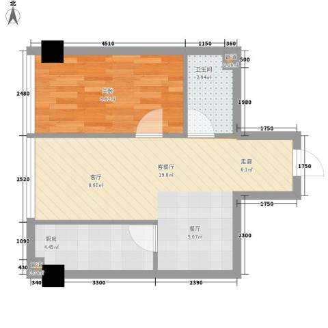 宜家国际公寓1室1厅1卫1厨53.00㎡户型图