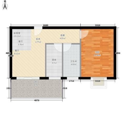 海棠村1室0厅1卫1厨58.00㎡户型图