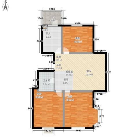 富丽国际3室0厅1卫1厨117.00㎡户型图
