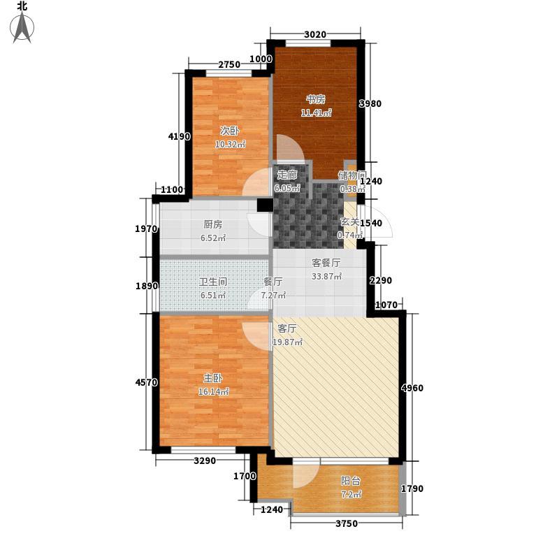 逸林派103.00㎡2号、7号、8号楼B户型2室2厅1卫1厨