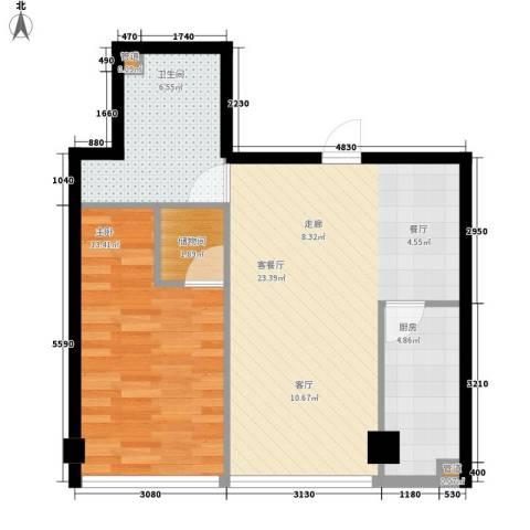 宜家国际公寓1室1厅1卫1厨68.00㎡户型图