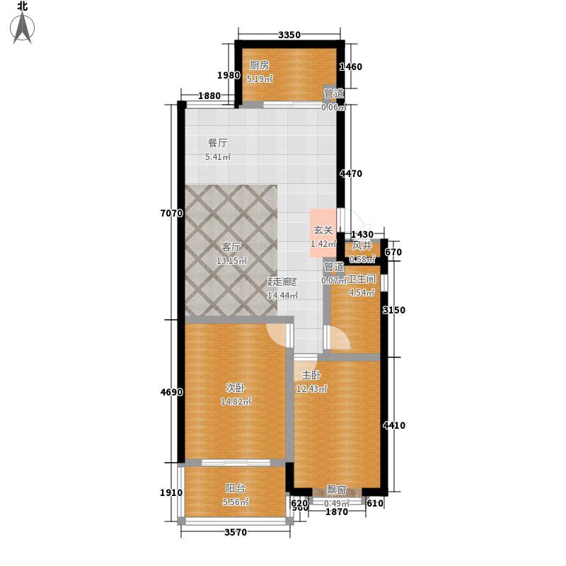 东方水岸户型图户型图(已售完) 2室2厅1卫1厨
