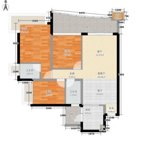 嘉信城市花园五期3室1厅2卫1厨90.00㎡户型图
