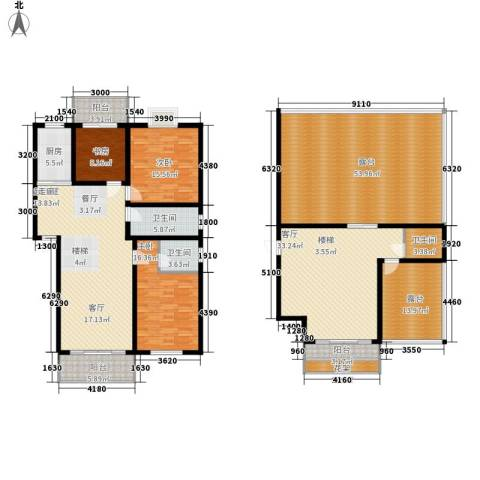倚山书香居3室1厅3卫1厨297.00㎡户型图