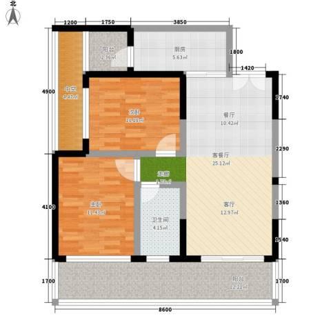博鳌印象2室1厅1卫1厨96.00㎡户型图