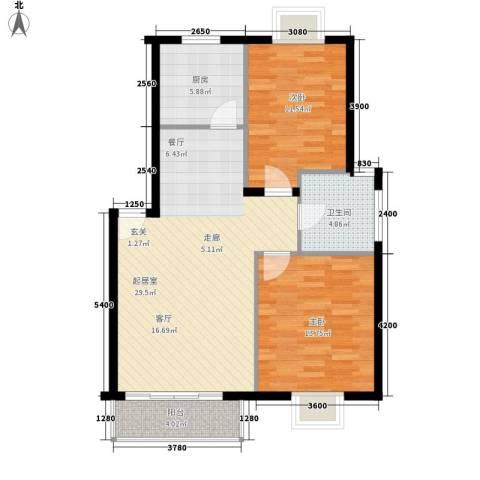学林雅苑2室0厅1卫1厨83.00㎡户型图