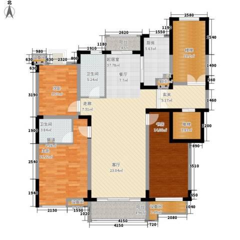 中富新村3室0厅2卫1厨144.00㎡户型图