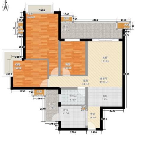 嘉信城市花园五期3室1厅1卫1厨110.00㎡户型图