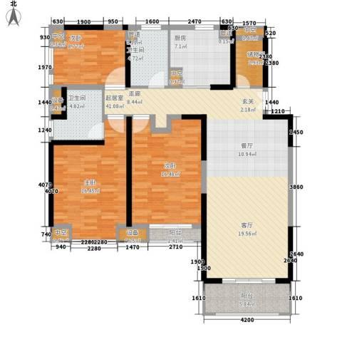 温泉花园3室0厅2卫1厨130.00㎡户型图
