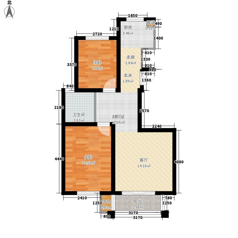 南湖明珠86.13㎡南湖明珠户型图N户型2室1厅1卫1厨户型2室1厅1卫1厨