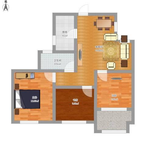 幸福城居住区经济适用房3室1厅1卫1厨88.00㎡户型图