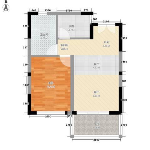 博鳌印象1室1厅1卫1厨64.00㎡户型图