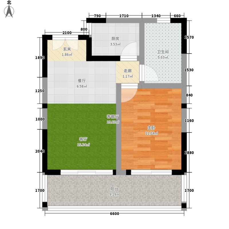 博鳌印象66.75㎡博鳌印象户型图1号楼B4户型2室1厅1卫1厨户型2室1厅1卫1厨