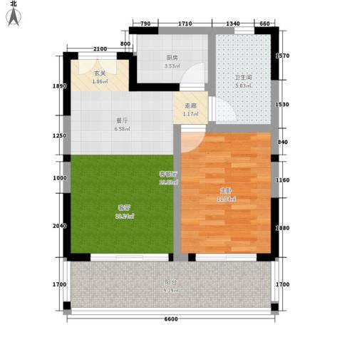 博鳌印象1室1厅1卫1厨67.00㎡户型图