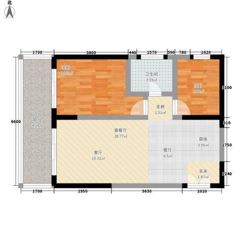 博鳌印象2室1厅1卫0厨81.00㎡户型图