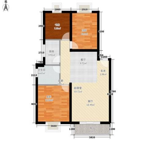 学林雅苑3室0厅1卫1厨95.00㎡户型图