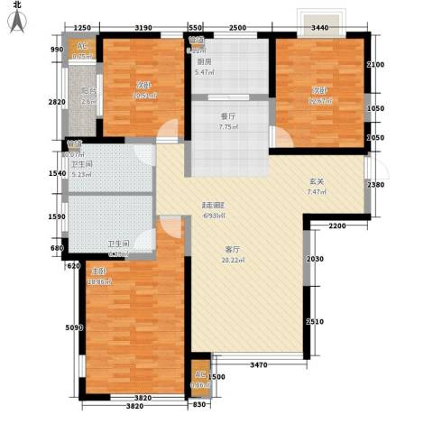 绿地塞尚公馆3室0厅2卫1厨120.57㎡户型图