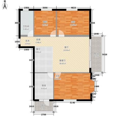 富丽国际3室1厅1卫1厨118.00㎡户型图