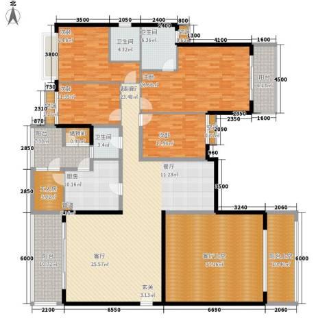 嘉信城市花园五期4室1厅3卫1厨248.00㎡户型图
