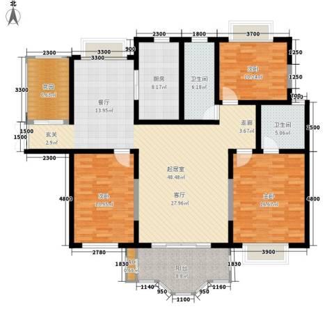 方兴社区3室0厅2卫1厨124.84㎡户型图