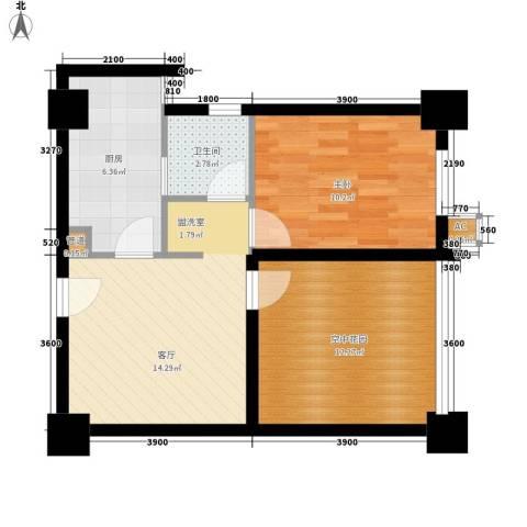 经典华城一期梧桐语1室1厅1卫1厨63.00㎡户型图