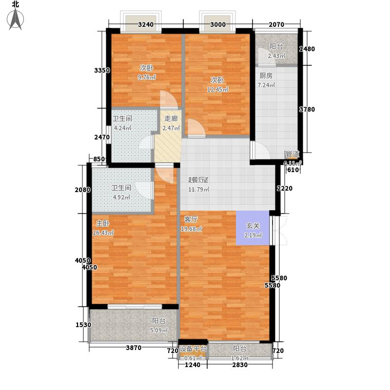 BOBO自由城一期125.62㎡B1e户型3室2厅2卫1厨