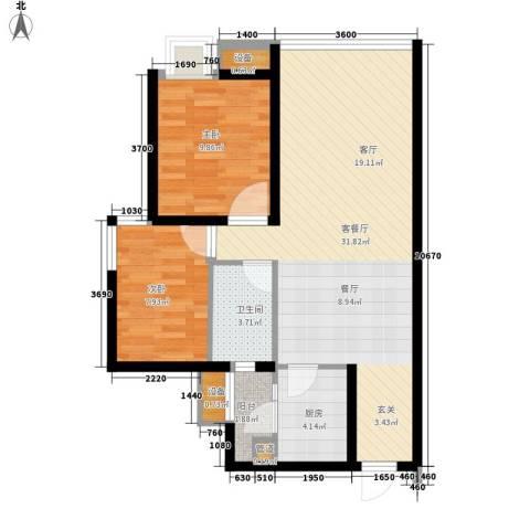 龙湖时代天街2室1厅1卫1厨77.00㎡户型图
