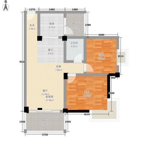 苹果园2室0厅1卫1厨78.00㎡户型图