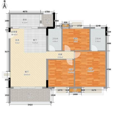今日丽舍3室0厅2卫1厨121.46㎡户型图