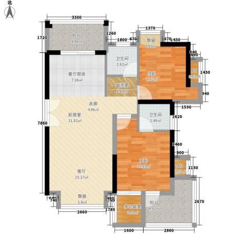 金鸡岭花园山庄2室0厅2卫0厨100.00㎡户型图